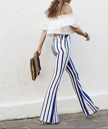 Hudson Mia Striped Mid-Rise Flare Jeans