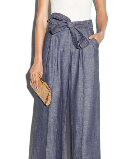 Milly Denim Linen-Blend Trapunto Tie-Waist Trousers