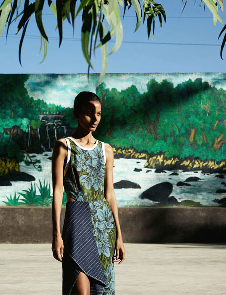3.1 Phillip Lim Sleeveless Floral Dress w/ Striped Trim