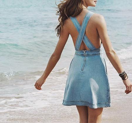 Stella McCartney Anne Crisscross-Back Denim Dress