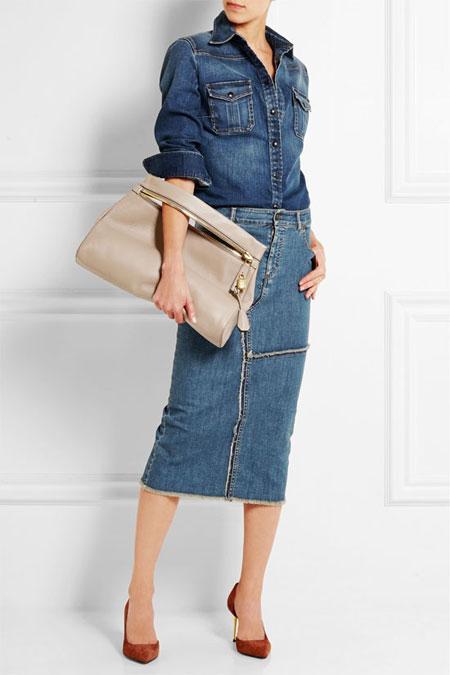 TOM FORD Frayed stretch-denim skirt
