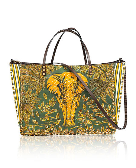 Valentino Primitive Animal Elephant Studded Tote Bag
