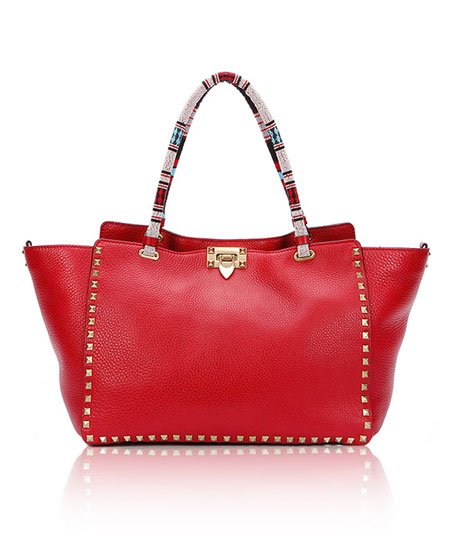 Valentino Medium Beaded Handle Rockstud Tote