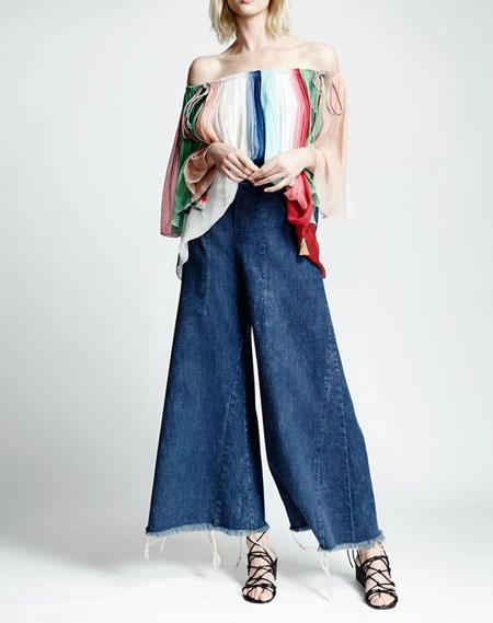 Chloe Wide-Leg Raw-Hem Cropped Jeans
