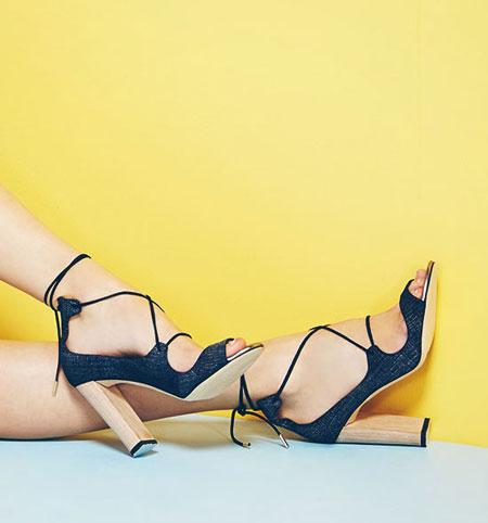 Jimmy Choo Vernie Denim Leather Lace-Up Sandals