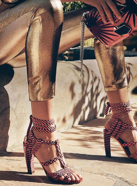 Jimmy Choo Woven Ankle-Wrap Sandal