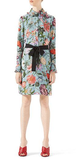 Gucci Garden Print Silk Shirt Dress