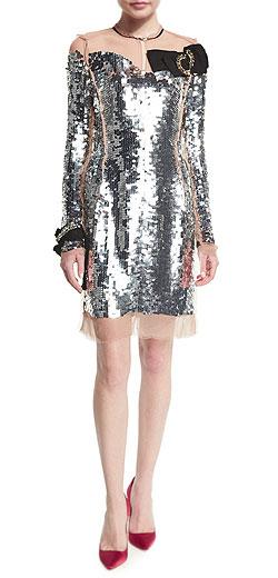 Lanvin Long-Sleeve Sequined Silk Dress