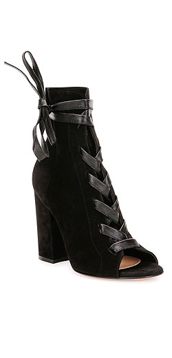 Gianvito Rossi Lace-Front Peep-Toe Suede Ankle Boot