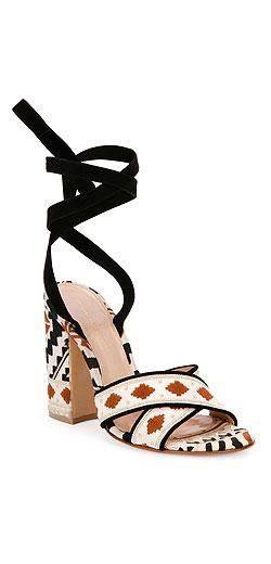 Gianvito Rossi Geometric-Print Ankle-Wrap Sandal