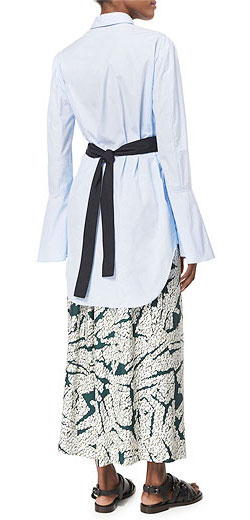 Cedric Charlier Bell-Sleeve Belted Cotton Top