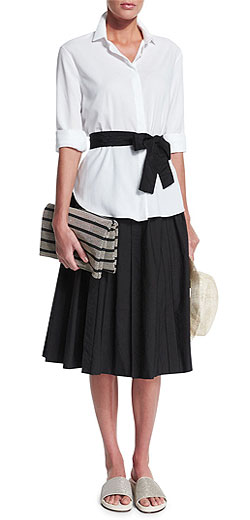 Brunello Cucinelli Poplin Shirt w/Contrast Belt
