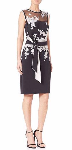 Tadashi Shoji Illusion Embroidered Scuba Dress