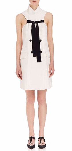 Proenza Schouler Sleeveless Tie-Front Double-Breasted Jacquard Dress