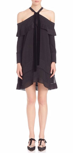 Proenza Schouler Dot Jacquard Off-The-Shoulder Dress