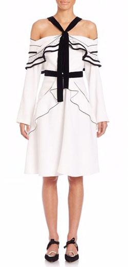 Proenza Schouler Off-the-Shoulder Ruffled Tie-Neck Dress