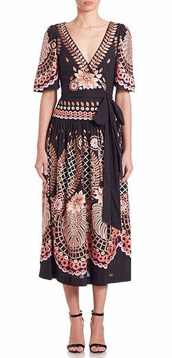 Temperley London Arabelle Embroidered Wrap Dress