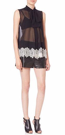 McQ Alexander McQueen Laced Sleeveless Tie-Neck Silk Blouse