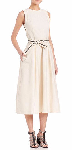 Brunello Cucinelli Sleeveless Cotton-Blend Midi Dress