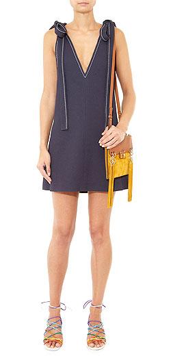 CHLOÉ Tie-shoulder crepe dress