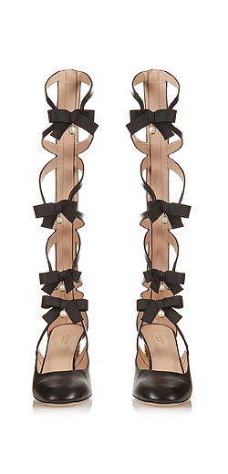 GUCCI Bow-embellished gladiator leather pumps