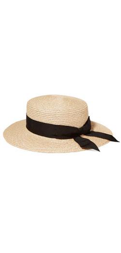 EUGENIA KIM Brigitte grosgrain-trimmed woven hemp boater hat