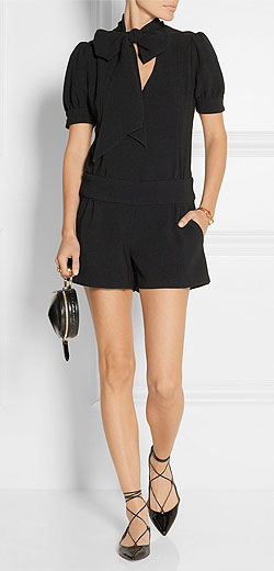 HANEY Lizzie pussy-bow crepe playsuit