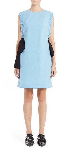 MSGM Side Bow Stretch Cotton Poplin Dress