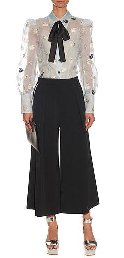 MARC JACOBS Swan-jacquard organza blouse
