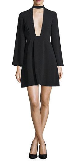 Jill Jill Stuart Long-Sleeve Plunging V-Neck Cocktail Dress