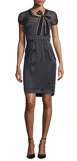 Valentino Short-Sleeve Sheer-Yoke Sheath Dress