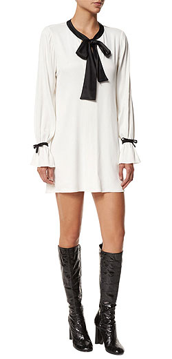 Alexis Long-Sleeve Contrast-Trim Shift Dress
