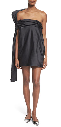 Monse Strapless Silk Dress w/Oversized Back Tie