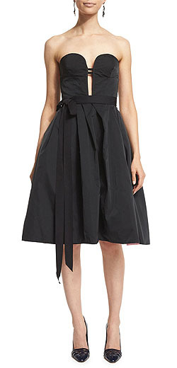 Oscar de la Renta Strapless Two-Tone Cocktail Dress