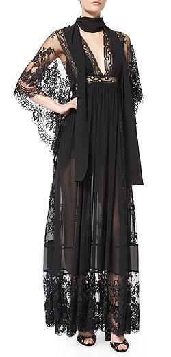 Elie Saab Bell-Sleeve Lace & Georgette Gown
