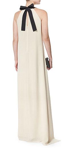 Brunello Cucinelli V-Neck Silk-Crepe Halter Gown