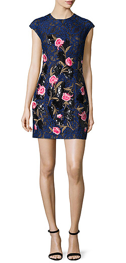 Sachin & Babi Noir Cap-Sleeve Mixed-Media Mini Dress