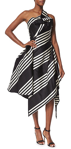 Rubin Singer One-Shoulder Striped Cocktail Dress