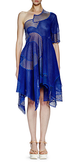 Stella McCartney Noah One-Shoulder Mesh-Embroidered Dress