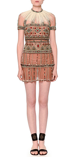Valentino Short-Sleeve Beaded Tulle Dress w/Detachable Feather Collar
