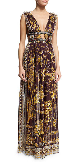 Valentino Plunging Jaguar-Print Sleeveless Gown