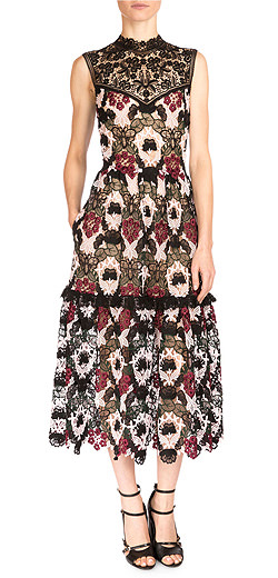 Erdem Grace Mixed Lace Midi Dress