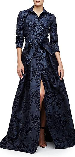 Carolina Herrera Floral-Flocked Trenchcoat Gown