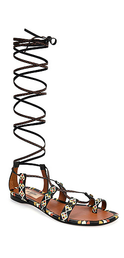 Valentino Hand-Painted Leather Gladiator Sandal