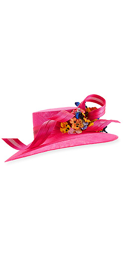 Philip Treacy Large Downturn Hat w/ Ribbons & Floral Trim
