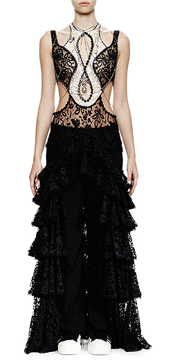 Alexander McQueen Sleeveless Cutout Ruffled Lace Tulle Gown
