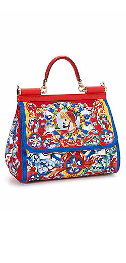 Dolce & Gabbana Sicily Stitched Cotton Top-Handle Satchel