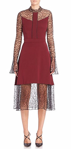 Prabal Gurung Long-Sleeve Lace Combo Dress