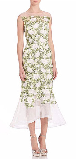 Teri Jon by Rickie Freeman Illusion Lace Midi Dress