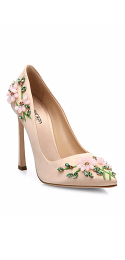 Giambattista Valli Floral-Embroidered Satin Pumps